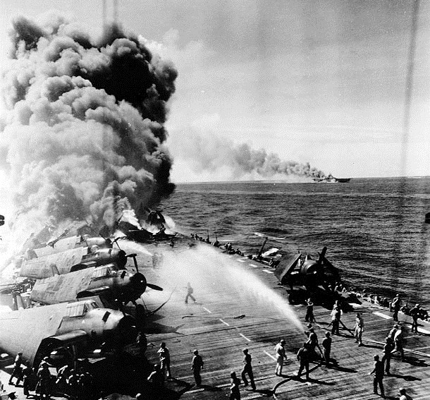 November           a Kamikaze explodes after hitting the USS Intrepid CV     off the Philippines  The attack killed    crewmen